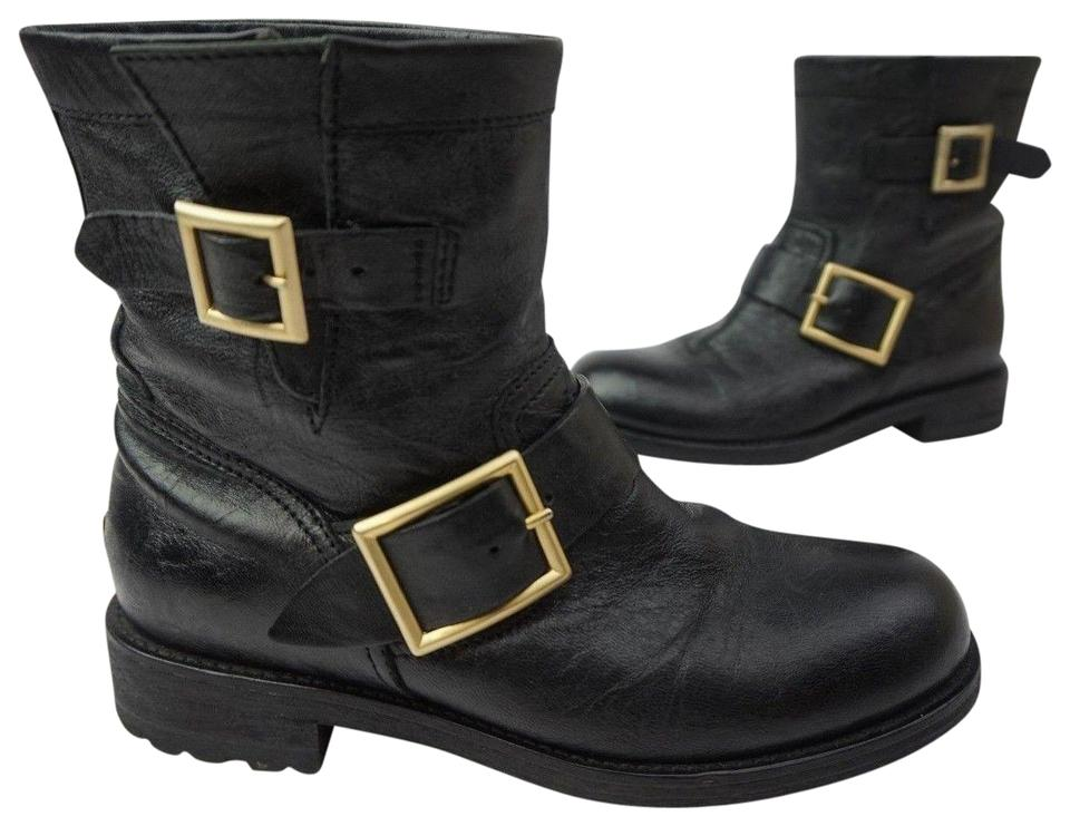 8bdc2525d20 Jimmy Choo Black Youth Short Leather Biker Boots Booties Size EU 35 ...