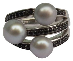 Honora Honora Gray Pearl Ring Black Spinel Sz. 8 Sterling