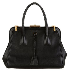 Prada Doctor Frame Bowler Saffiano Pebbled Leather Rose Gold Hardware Ghw Gold Fall Winter 2012 Tote in Black