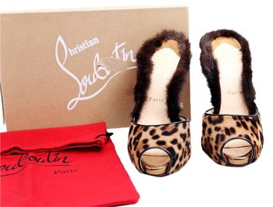 Christian Louboutin Red Soles Nutria 120mm Pony Fur Crystal Heels Leopard Mules