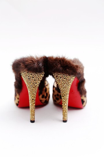 Christian Louboutin Nutria 120mm Pony Fur Crystal Heels Red Bottoms Leopard Mules