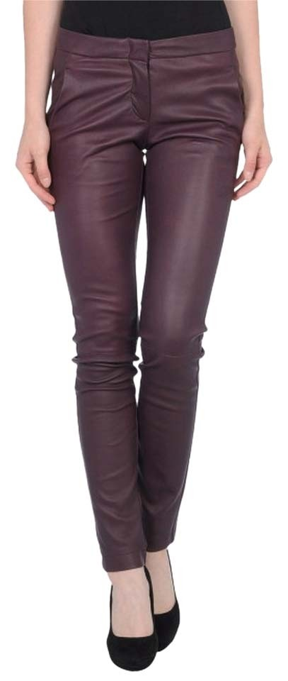 b4bfe488c6e362 L'AGENCE Deep Purple L Leather Stretch Lambskin Trouser Pants Size 2 ...