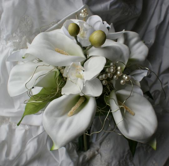 White Phalaenopsis and Calla Lily Silk Bridal Bouquet Other