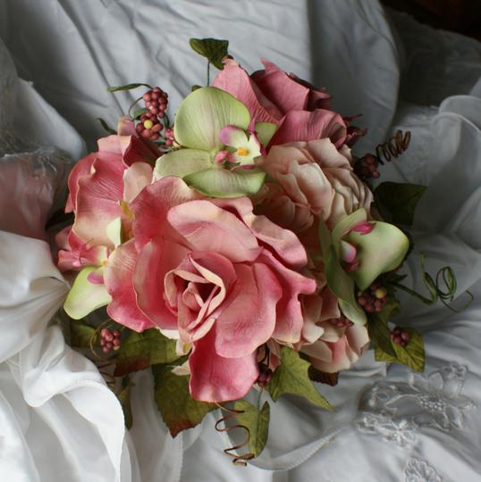 Pink Rose And Phalaenopsis Orchid Bouquet In Silk