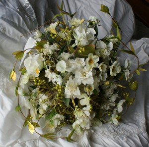 Ivory White and Green Natural Bridal Bouquet In Silk Other