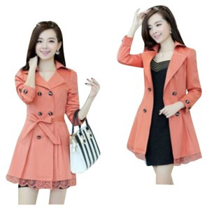 Other Trench Polyester Fall Lace Trench Coat