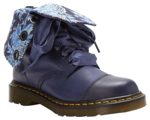 Dr. Martens Leather Satin Ribbon Laces Navy Blue Boots