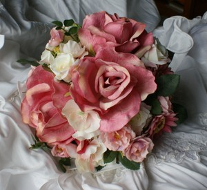 Pink And Ivory Rose Nosegay Bridal Bridesmaid Bouquet In Silk