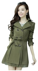Other Trench Lace Polyester Trend Fall Trench Coat