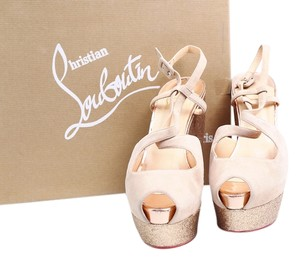 Christian Louboutin Sandals Glitter Strappy Nude Platforms