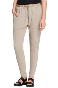 Eileen Fisher Silk Georgette Crepe Slouchy Ankle Relaxed Pants MOCHA