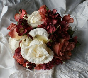 Rose Sienna Ivory And Wine Bridal Bridemaid Bouquet In Silk