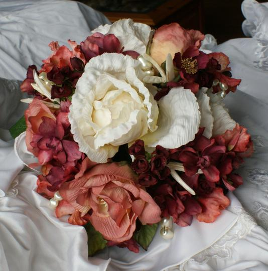 Rose Sienna Ivory and Wine Bridal Bridemaid Bouquet In Silk Other