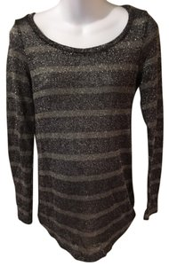 A Pea In The Pod A pea in the pod black and gray striped maternity sweater with metallic thread