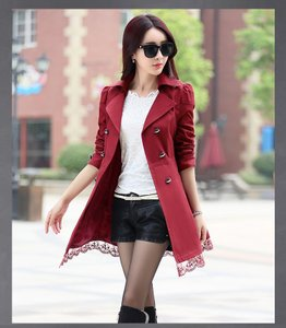 Trench Korean Style Lace Trench Coat