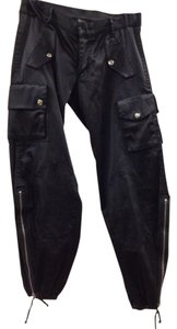 Sky Satin Moto Zippered Cargo Vintage Harem Capri/Cropped Pants Black