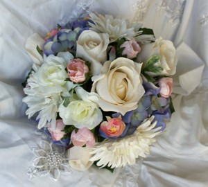 Lifelike Wedding Flower Package In Lavenders Pinks And Ivories