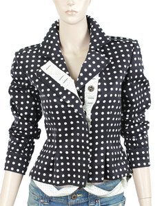 Yves Saint Laurent Polka Dot Pleated Peplum Black, Blue, White Jacket