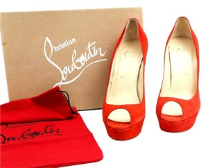 Christian Louboutin Suede Peep Toe Pump Orange Platforms