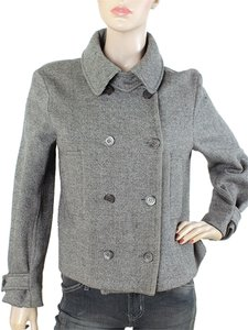 Yves Saint Laurent Tweed Knit Wool Grey Jacket