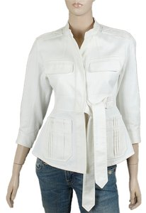 Yves Saint Laurent Cotton Belted Summer Pleated Ivory Jacket