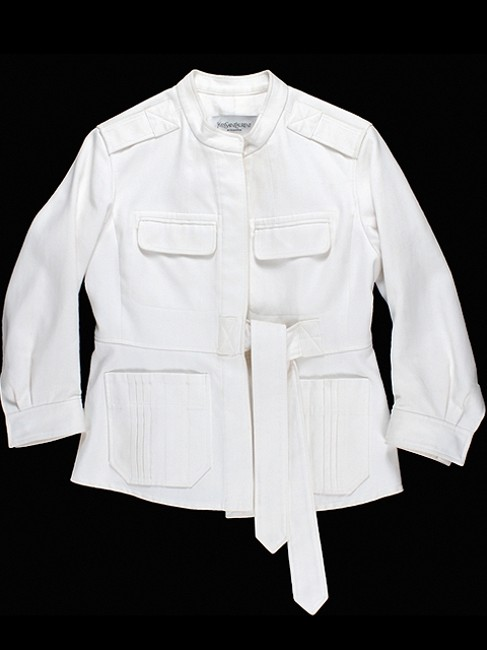 Saint Laurent Cotton Belted Summer Spring Pleated Ivory Jacket
