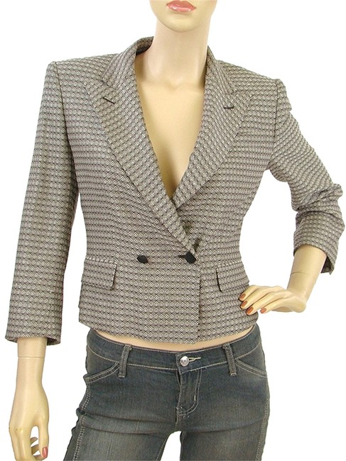 Saint Laurent Silk Wool Cropped Pattern Brown, Cream and Ivory Jacket