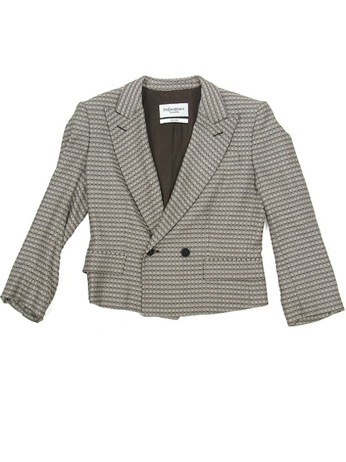 Yves Saint Laurent Silk Wool Cropped Pattern Brown, Cream and Ivory Jacket