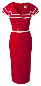 Bettie Page short dress Red Pencil Pin Up Sailor Nautical on Tradesy