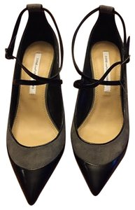 Diane von Furstenberg Ankle Strap Leather Suede Dvf Heels Black and Gray Pumps