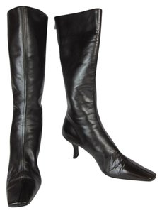 Prada Leather Tall Logo Boots