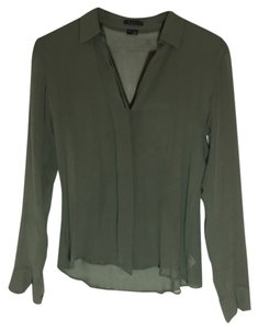 Theory Discount Career Top Green Silk