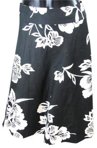 Gap Floral Cotton Skirt Black and White