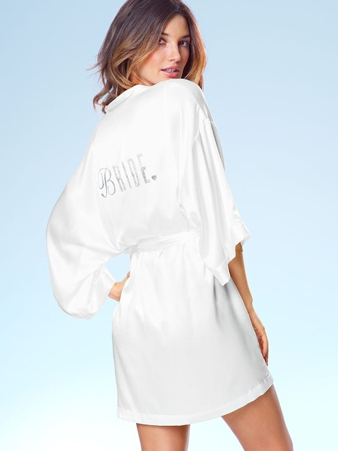 Item - White with Silver Embellishments Embellished Silk Bridal Robe