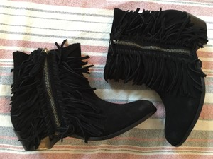Twelfth St. by Cynthia Vincent Oiled Black Suede Fringes Boots