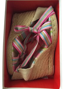 Coach Candy Cane Espandrile Multi Pink, Green, Blue, White Wedges