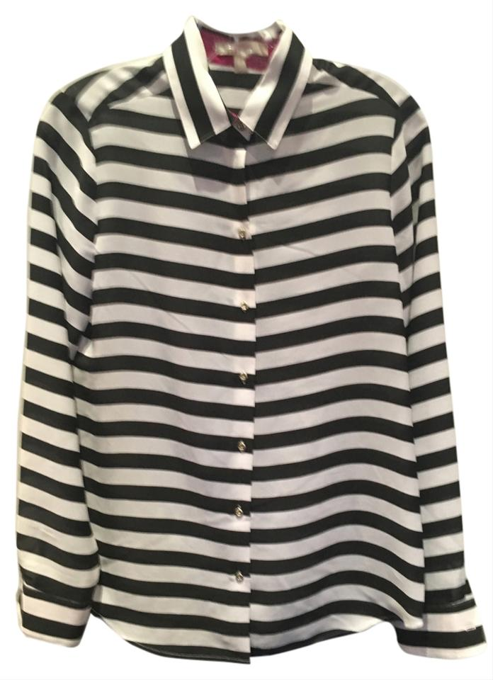 Banana Republic Black White Striped Pink Office Night Out Button ...