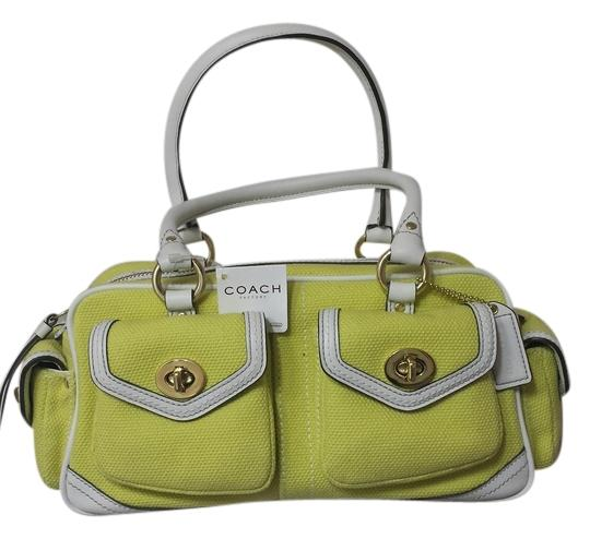 Preload https://item2.tradesy.com/images/coach-fs1874-banwit-sm-pkt-stchl-b4-limewht-leather-canvas-satchel-1078936-0-0.jpg?width=440&height=440