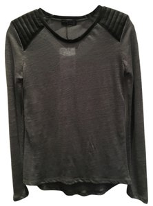 Zara Faux Leather T Shirt Grey