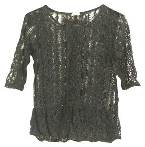 Anthropologie Peplum Lace Top Black