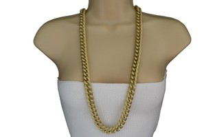 Other Women Long Gold Fashion Necklace Chunky Chain Links Jewelry Earrings