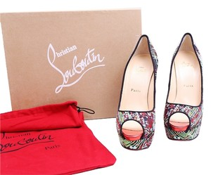 Christian Louboutin Multicolor Black Peep Toe 150 Embroidered Satin Pumps Red Sole Black/Mulitcolor Platforms