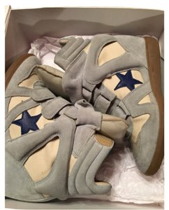 Isabel Marant Sneaker Bayley Americana Over Basket Sz.39 Wedge Luxury Hightop Light Blue Athletic