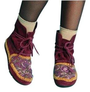 House of Harlow 1960 Rocker Festival Beaded Bohemian Purple Potion Boots