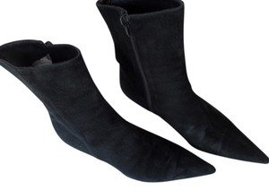 P.VERDI Suede Pointed Toe Italy Black Boots
