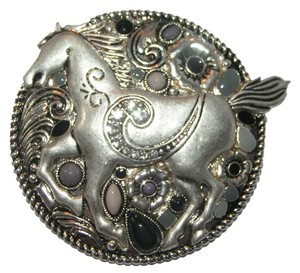 Beaded Rhinestone Silver Horse Western Magnetic Pendant Free Shipping