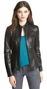 Tahari Marcille Lambskin Leather Scuba Collarless Leather Jacket