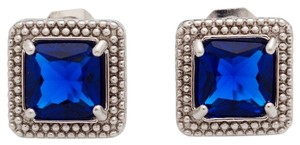 14K White Gold Filled Blue Cubic Zirconia Square Stud Earrings J1853
