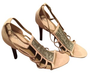 Cole Haan Nude with silver metal mesh Pumps