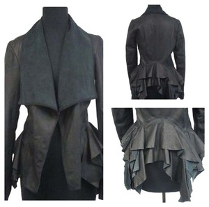 AllSaints Ruffle Bustle Leather Tailcoat Victorian Leather Jacket